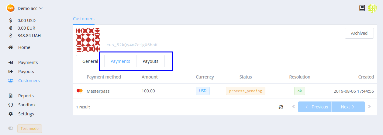 Customer's payments tab